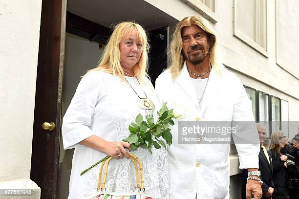 Abi Ofarim and Kirsten Schmidt attend the memorial service for the deceased actor Pierre Brice at Saint Michael church on June 18 2015 in Munich...