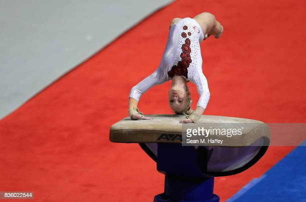 Abi Walker competes on the Vault during the PG Gymnastics Championships at Honda Center on August 20 2017 in Anaheim California
