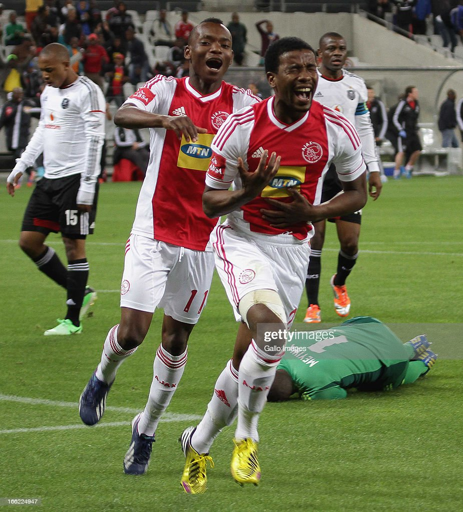 Abia Nale of Ajax Cape Town celebrates scoring the opening goal during the Absa Premiership match between Ajax Cape Town and Orlando Pirates from Cape Town Stadium on April 10, 2013 in Cape Town, South Africa.