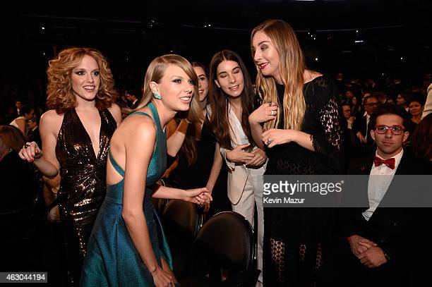 Abigail Anderson and recording artists Taylor Swift Alana Haim Danielle Haim and Este Haim of Haim attend The 57th Annual GRAMMY Awards at STAPLES...