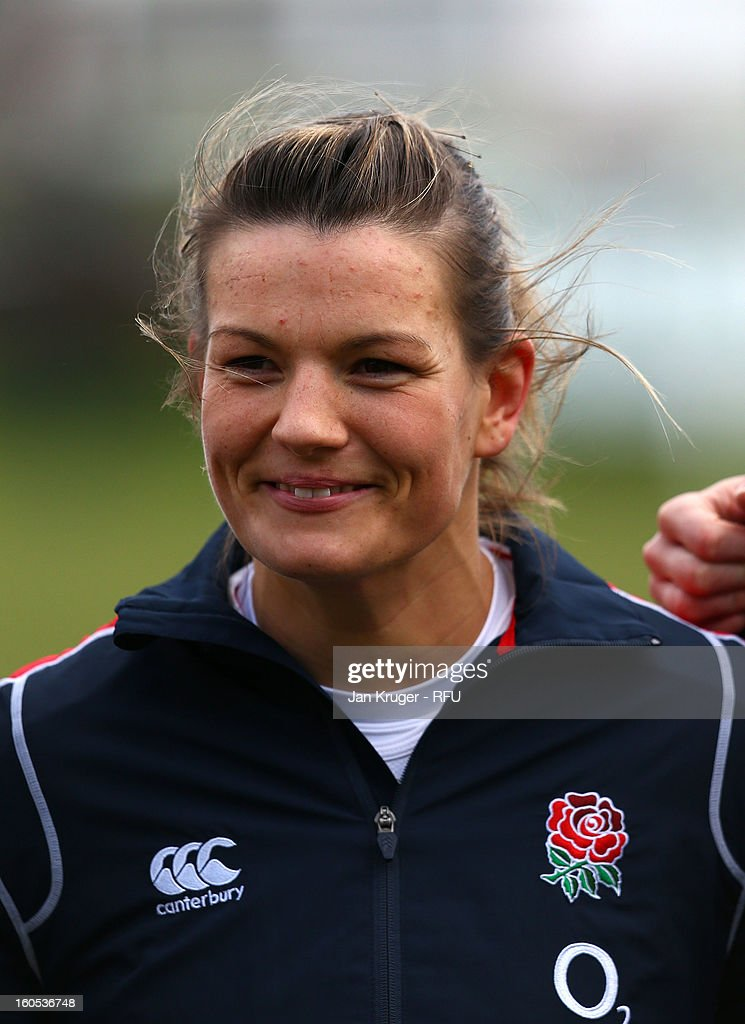 Abigail Chamberlain of England Women lines up for the anthem during the Womens Six Nations match between England and Scotland at Esher RFC on February 2, 2013 in Esher, England.