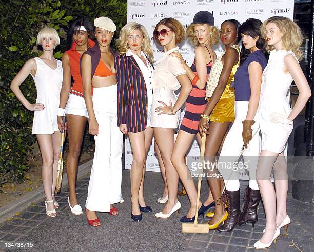 Abigail Clancy with models during Britain's Next Top Model Launch Party Arrivals at Debenham House in London Great Britain