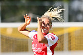 Abigail Dahlkemper of Adelaide United celebrates her goal during the round 10 WLeague match between the Newcastle Jets and Adelaide United at Magic...