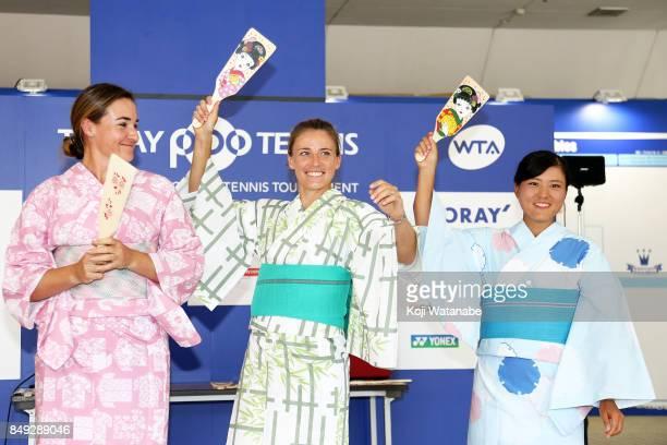 Abigail Spears Alicja Rosolska and Makoto Ninomiya wearing Yukata plays Hagoita traditional wooden paddle game during day two of the Toray Pan...