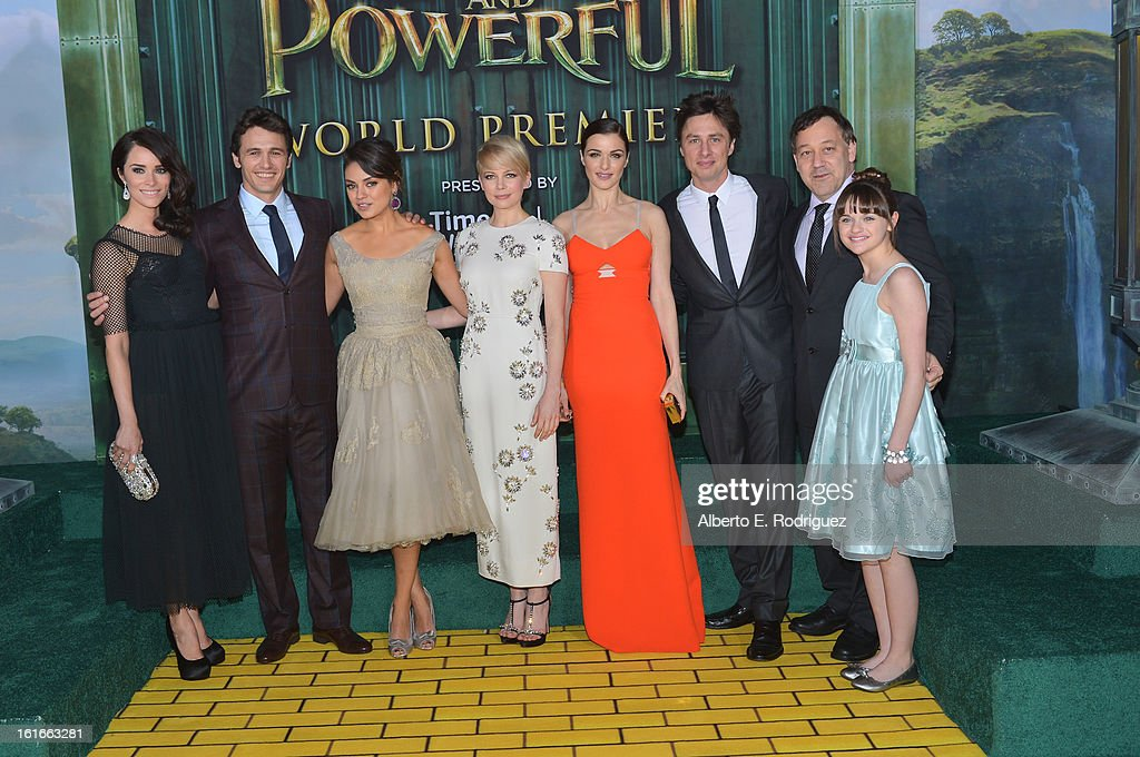 Abigail Spencer, James Franco, Mila Kunis, Michelle Williams, Rachel Weisz, Zach Braff, director Sam Raimi and Joey King attend Walt Disney Pictures World Premiere of 'Oz The Great And Powerful' - Red Carpet at the El Capitan Theatre on February 13, 2013 in Hollywood, California.