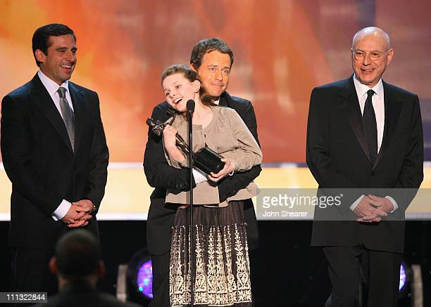 Abigal Breslin Greg Kinnear and Alan Arkin winners Outstanding Performance by a Cast in a Motion Picture for 'Little Miss Sunshine' with Steve Carell...