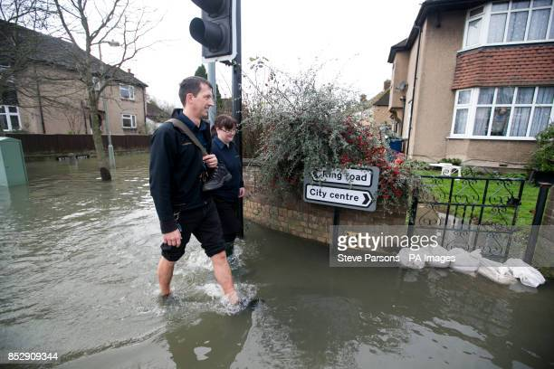 Abingdon Road in Oxford has flooded as heavy rain continues across the country