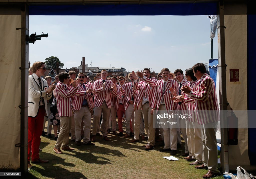 Abingdon School supporters celebrate after their crew won the final of the Princess Elizabeth Challenge Cup on finals day of the Henley Royal Regatta on July 7, 2013 in Henley-on-Thames, England.