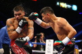 Abner Mares connects a punch against Daniel Ponce de Leon in their WBC featherweight title bout at the MGM Grand Garden Arena on May 4 2013 in Las...