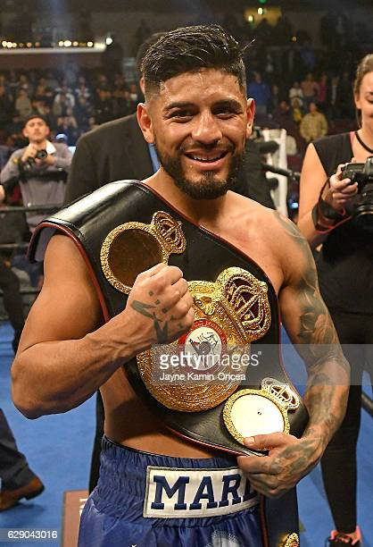 Abner Mares in the ring after he defeated Jesus Cuellar in the WBA Featherweight Championship Bout at the Galen Center at the University of Southern...