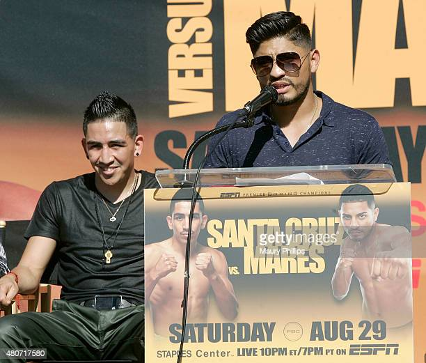 Abner Mares speaks onstage during a press conference hosted by Leo Santa Cruz and Abner Mares at Plaza Mexico on July 14 2015 in Lynwood California
