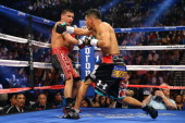 Abner Mares throws a right to the head of Daniel Ponce de Leon in their WBC featherweight title bout at the MGM Grand Garden Arena on May 4 2013 in...