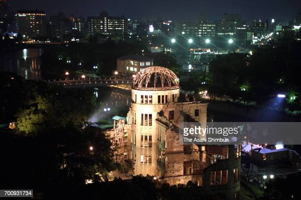 ABomb Dome is illuminated ahead of the 50th anniversary of the atomic bomb dropped on August 5 1995 in Hiroshima Japan