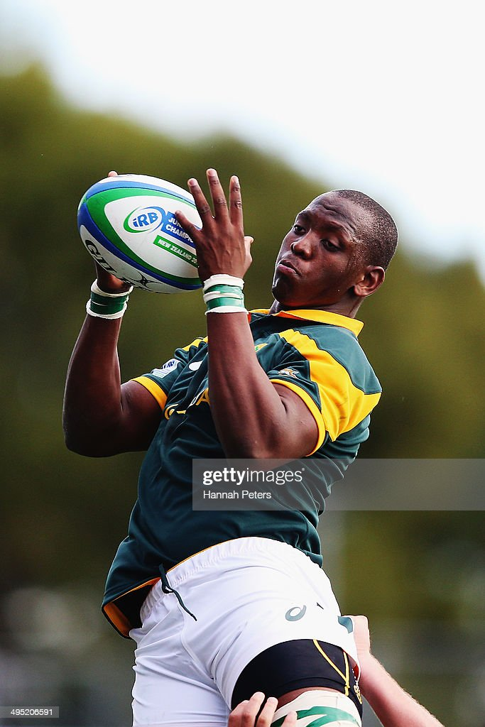 Abongile Nonkontwana of South Africa wins lineout ball during the 2014 Junior World Championships match between South Africa and Scotland at QBE Stadium on June 2, 2014 in Auckland, New Zealand.