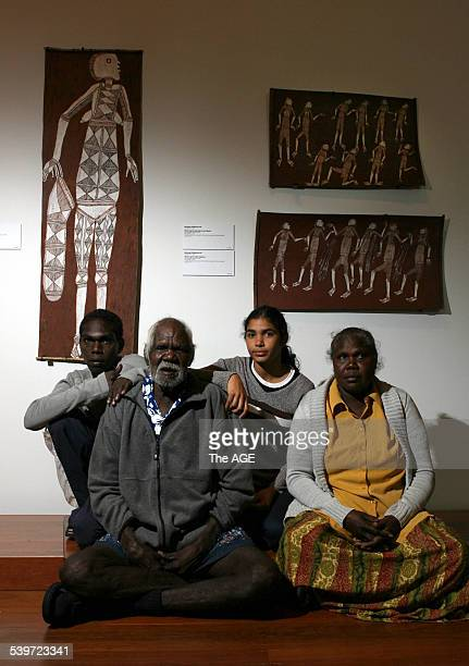 Aboriginal artists from all over Australia in Melbourne for the opening of Land Marks exhibition at NGV in Federation Square Artist Bardayal Lofty...