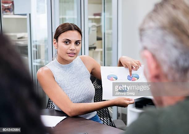Aboriginal Australian businesswoman showing pie charts in meeting