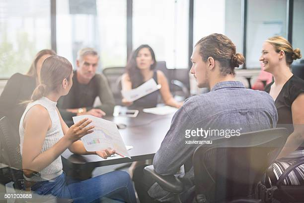 Aboriginal businesswoman talking on a meeting
