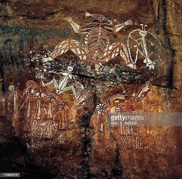 Aboriginal cave paintings Anbangbang Gallery Burrunggui Kakadu National Park Northern Territory Australia