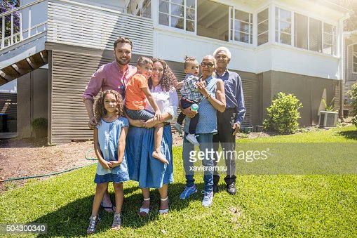 Aboriginal family portrait at home