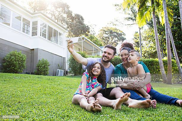 Aboriginal family selfie at home