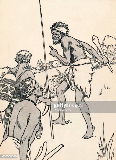 Aboriginal men approaching a settlers farm 1912 From More About The Empire by Alice Talwin Morris [Blackie and Son Limited London Glasgow and Bombay...