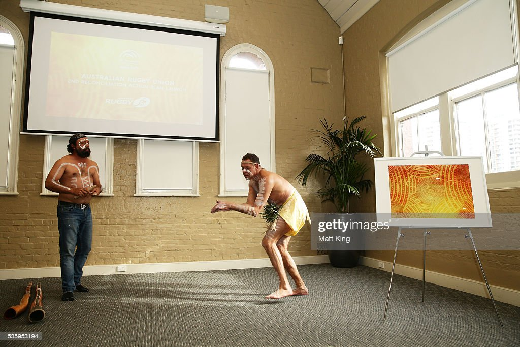 Aboriginal performers take part in the ARU Reconciliation Action Plan Launch at the National Centre for Indigenous Excellence on May 31, 2016 in Sydney, Australia.