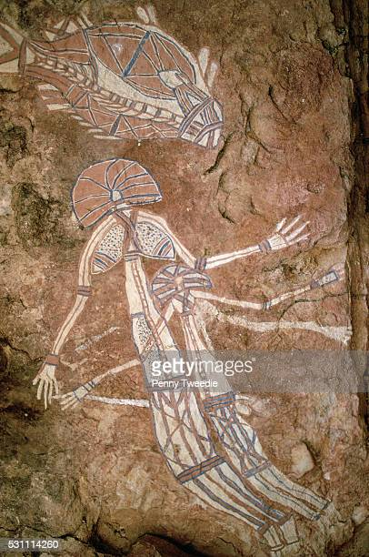 Aboriginal Rock Paintings of Barramundi Fish and Dreamtime Figures