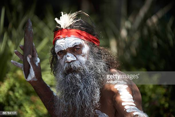 Aborigine man with traditional dress.