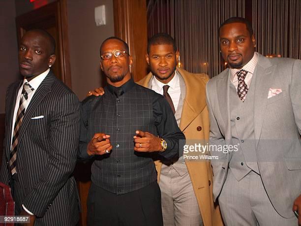 Abou 'Bu' Thiam V Johnson Usher and Devyne Stephens attend 'Dinner With The President' Honoring Abou 'Bu' Thiam on November 3 2009 in Atlanta Georgia