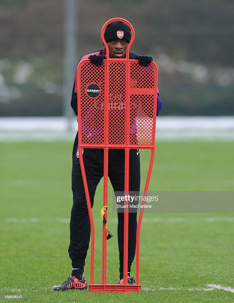 <a gi-track='captionPersonalityLinkClicked' href=/galleries/search?phrase=Abou+Diaby&family=editorial&specificpeople=658258 ng-click='$event.stopPropagation()'>Abou Diaby</a> of Arsenal during a training session at London Colney on January 15, 2013 in St Albans, England.