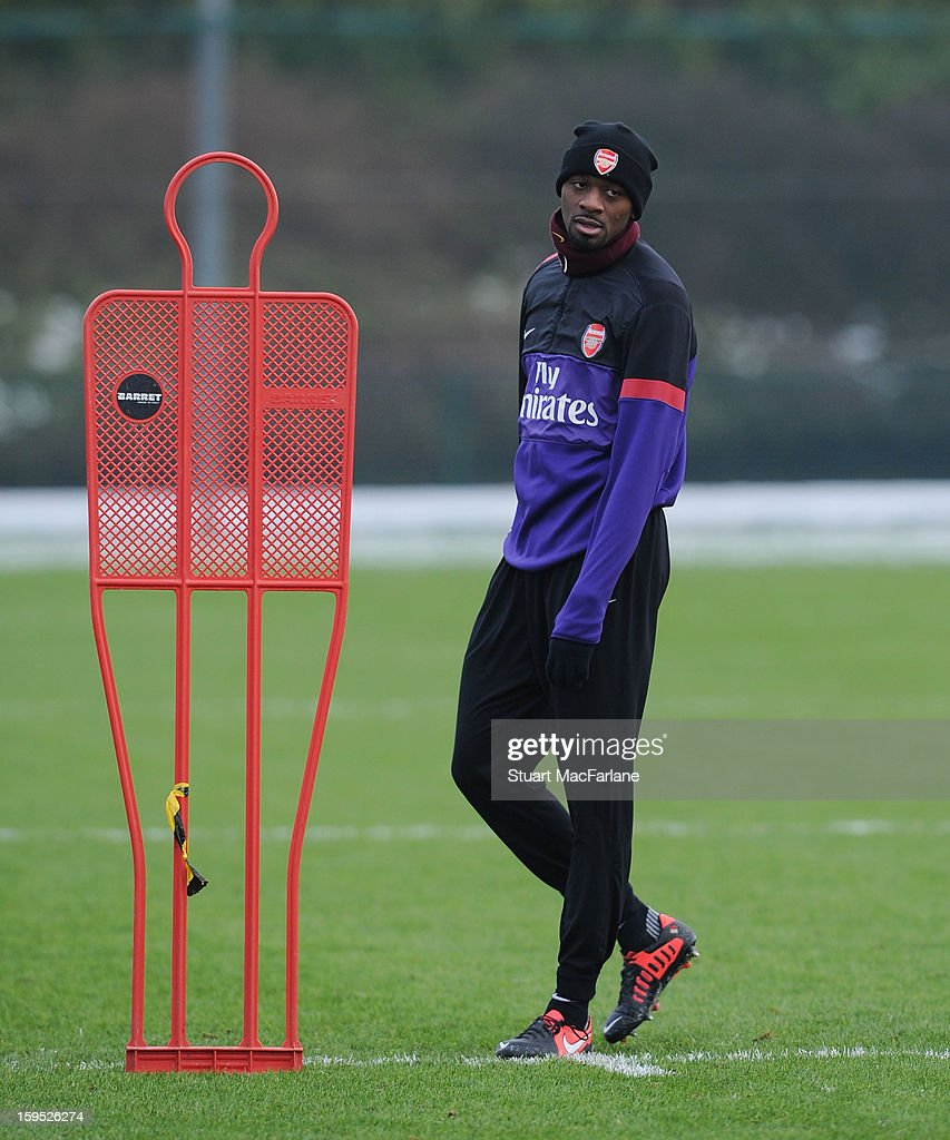 Abou Diaby of Arsenal during a training session at London Colney on January 15, 2013 in St Albans, England.