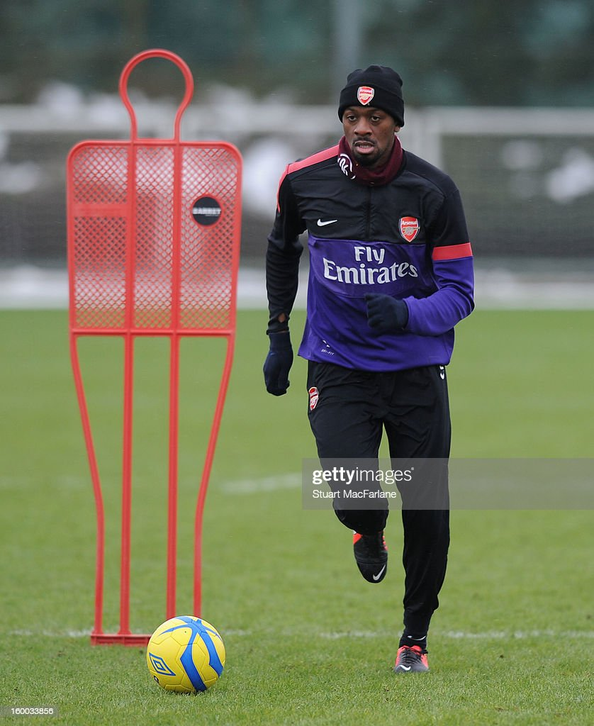 Abou Diaby of Arsenal during a training session at London Colney on January 25, 2013 in St Albans, England.