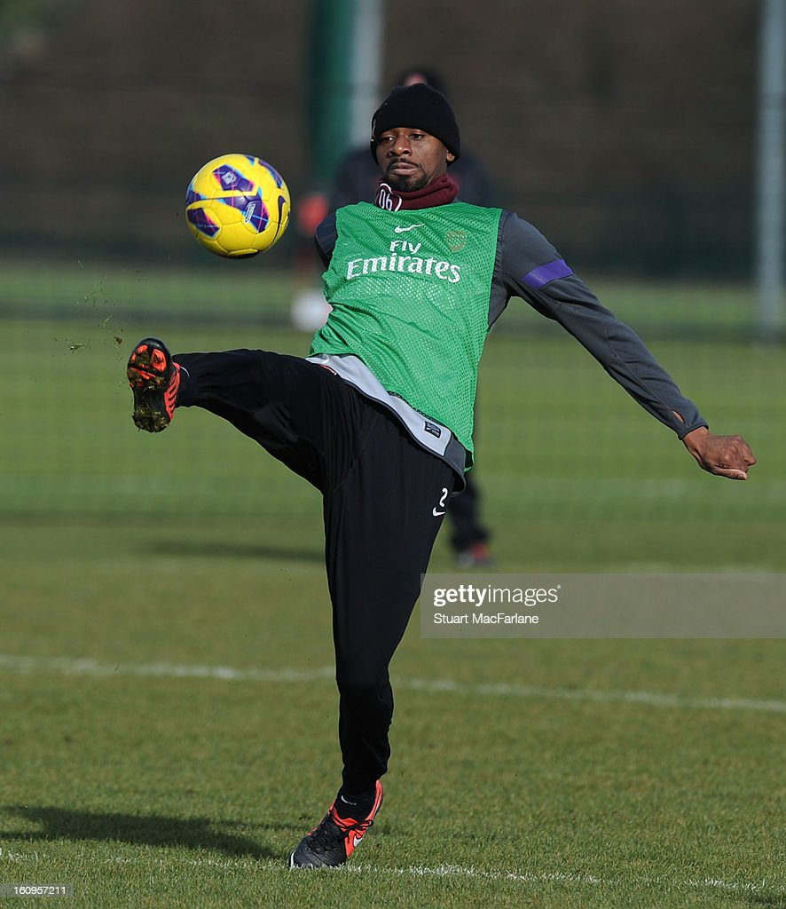 <a gi-track='captionPersonalityLinkClicked' href=/galleries/search?phrase=Abou+Diaby&family=editorial&specificpeople=658258 ng-click='$event.stopPropagation()'>Abou Diaby</a> of Arsenal during a training session at London Colney on February 08, 2013 in St Albans, England.