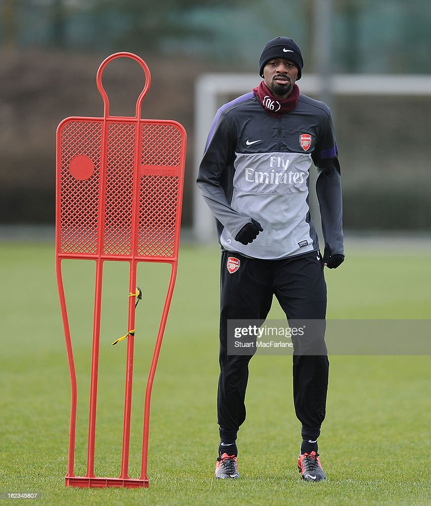 Abou Diaby of Arsenal during a training session at London Colney on February 22, 2013 in St Albans, England.