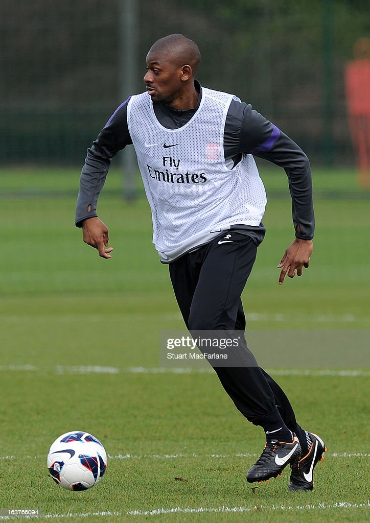 Abou Diaby of Arsenal during a training session at London Colney on March 15, 2013 in St Albans, England.