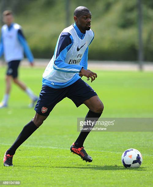 Abou Diaby of Arsenal during a training session at London Colney on May 10 2014 in St Albans England