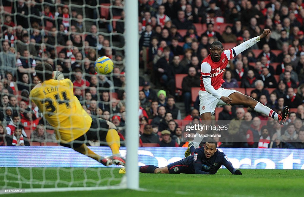 <a gi-track='captionPersonalityLinkClicked' href=/galleries/search?phrase=Abou+Diaby&family=editorial&specificpeople=658258 ng-click='$event.stopPropagation()'>Abou Diaby</a> of Arsenal has his shot saved by Blackburn goalkeeper Jake Kean during the FA Cup Fifth Round match between Arsenal and Blackburn Rovers at the Emirates Stadium on February 16, 2013 in London, England.