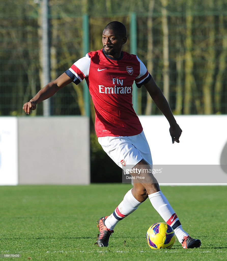 <a gi-track='captionPersonalityLinkClicked' href=/galleries/search?phrase=Abou+Diaby&family=editorial&specificpeople=658258 ng-click='$event.stopPropagation()'>Abou Diaby</a> of Arsenal in action during the Barclays Premier U21 match between Arsenal U21 and West Bromwich Albion U21 at London Colney on January 9, 2013 in St Albans, United Kingdom.