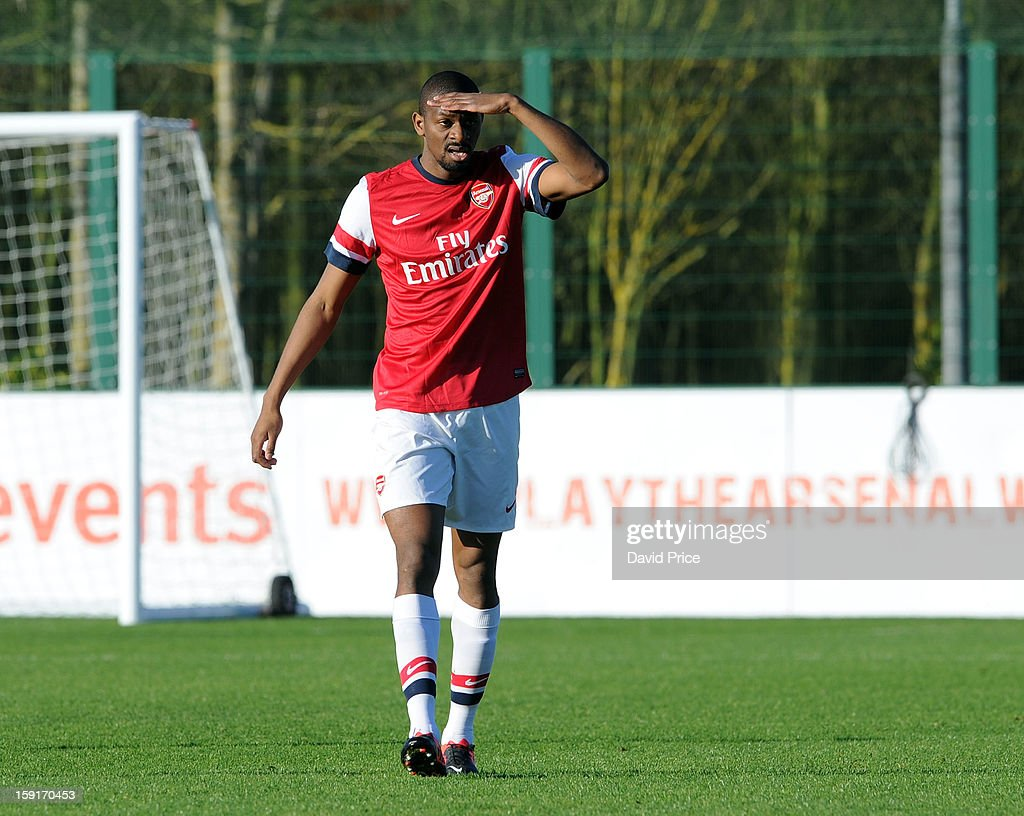 Abou Diaby of Arsenal looks on during the Barclays Premier U21 match between Arsenal U21 and West Bromwich Albion U21 at London Colney on January 9, 2013 in St Albans, United Kingdom.
