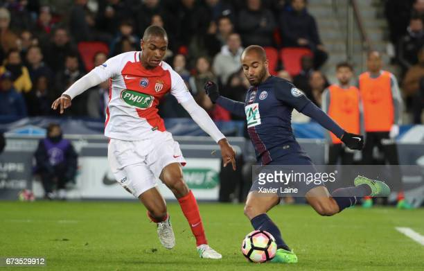 Abou Diallo of AS Monaco in action with Lucas Moura of Paris SaintGermain during the French Cup SemiFinal match between Paris SaintGermain and As...