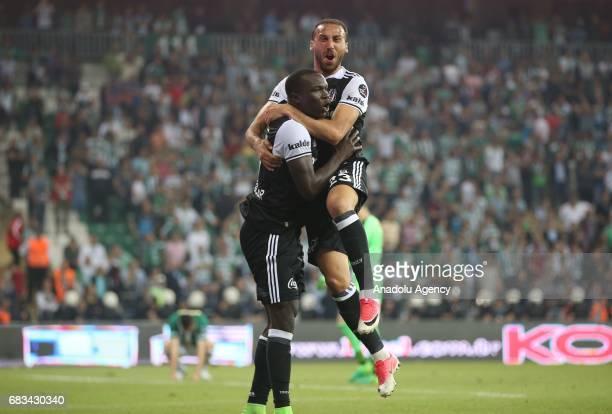 Aboubakar and Cenk Tosun of Besiktas celebrate after scoring a goal during the Turkish Spor Toto Super Lig soccer match between Bursaspor and...