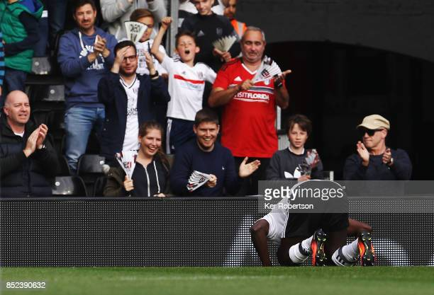 Aboubakar Kamara of Fulham celebrates scoring during the Sky Bet Championship match between Fulham and Middlesbrough at Craven Cottage on September...