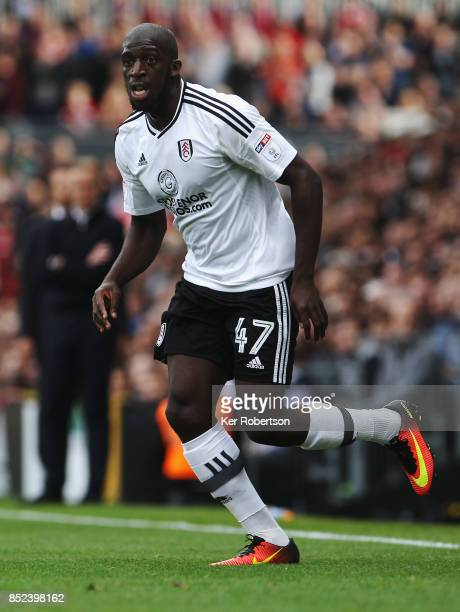 Aboubakar Kamara of Fulham in action during the Sky Bet Championship match between Fulham and Middlesbrough at Craven Cottage on September 23 2017 in...