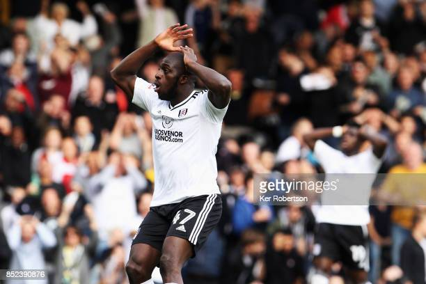 Aboubakar Kamara of Fulham reacts as he misses a chance to score during the Sky Bet Championship match between Fulham and Middlesbrough at Craven...