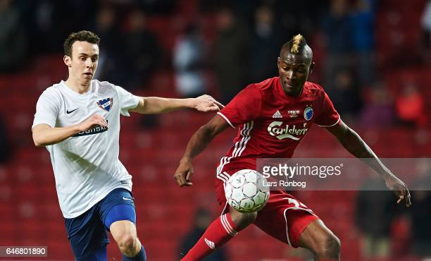 Aboubakar Keita of FC Copenhagen and Sebastian Czajkowski of B93 compete for the ball during the Danish Cup DBU Pokalen match match between B93 and...