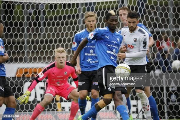 Aboubakar Keita of Halmstad BK and Brendan HinesIke of Orebro SK competes for the ball during the Allsvenskan match between Halmstad BK and Orebro SK...