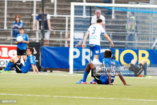 Aboubakar Keita of Halmstad BK dejected after the lost during the Allsvenskan match between IFK Norrkoping and Halmstad BK at Ostgotaporten on May 27...