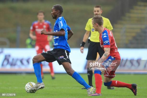 Aboubakar Keita of Halmstad BK during the allsvenskan match between Halmstad BK and IFK Goteborg at Orjans Vall on October 14 2017 in Halmstad Sweden