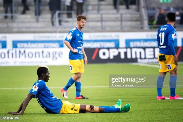 Aboubakar Keita of Halmstad BK look after his team's defeat in the Allsvenskan match between BK Hacken and Halmstad BK at Bravida Arena on May 17...