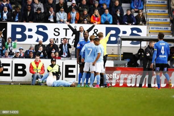 Aboubakar Keita of Halmstad BK receives a red card for tackling Oscar Lewicki of Malmo FF during the Allsvenskan match between Halmstad BK and Malmo...